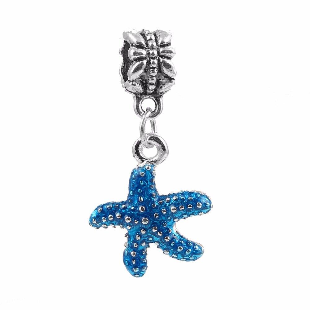 Vacation Enamel Starfish Charms Pendants Beads fit Pandora Charms Bracelet Fashion Diy Jewelry