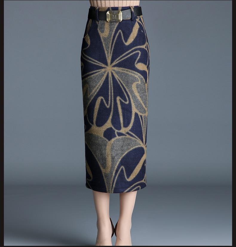 Impression Jupes Plus De La 1 Fourche Automne Empire Laine Jupe Surdimensionné Printemps Épais Split Mince Veau Lady Longueur Femme 20 Taille Axq8P55wS