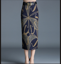 Woman Spring Plus Size Empire 20% Wool Slim Skirts Female Autumn Oversized Print Skirt Lady Thick Calf Length Split Fork Skirt