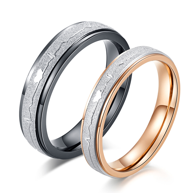 c351b239fcc8b US $3.0 |Love Ring for Women and Men Hot Selling Heartbeat Wedding Ring  Black Rose Gold Color Alliance Couple Engagement Ring-in Wedding Bands from  ...