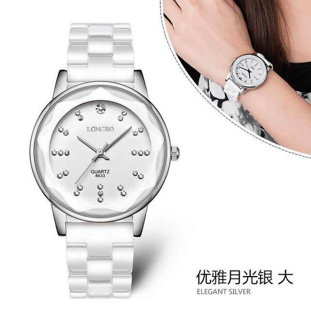 a39ad3e4b39 Top Quality LONGBO Brand Luxury Rose Gold Diamond Grace Ceramic Female Man  Lovers  Gift Fashion