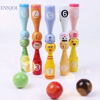 Lovely Mini Cartoon Wooden Bowling Ball Cute Animal Shape For Kids Children Toys 10 Pcs Bowling