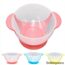 Infant baby child child feeding training bowl cartoon binaural baby feeding tableware children plate suction cup bowl baby feed-in Dishes