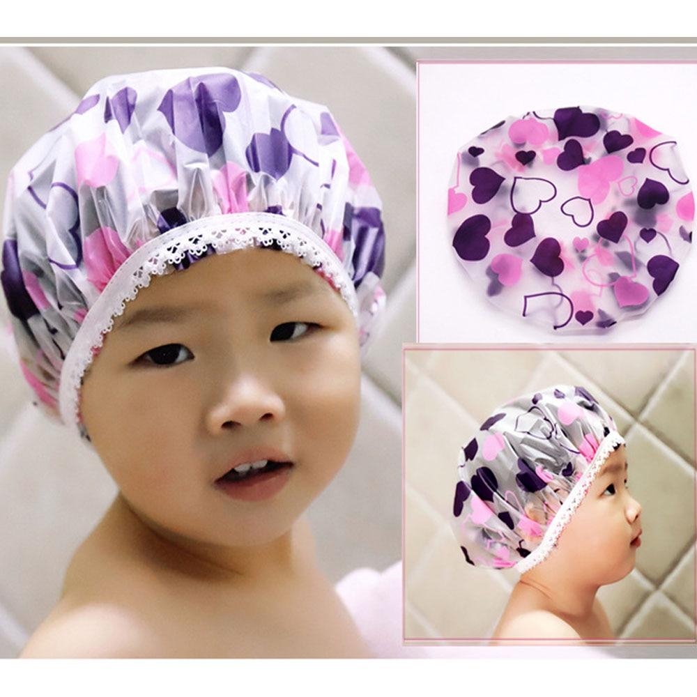1 Baby Dusche Kappe Wiederverwendbare Wasserdicht Bad Hut Teenager Mädchen Dusche Haar Abdeckung Kappe Shampoo Kappe Dropshipping Großhandel Förderung Feine Verarbeitung