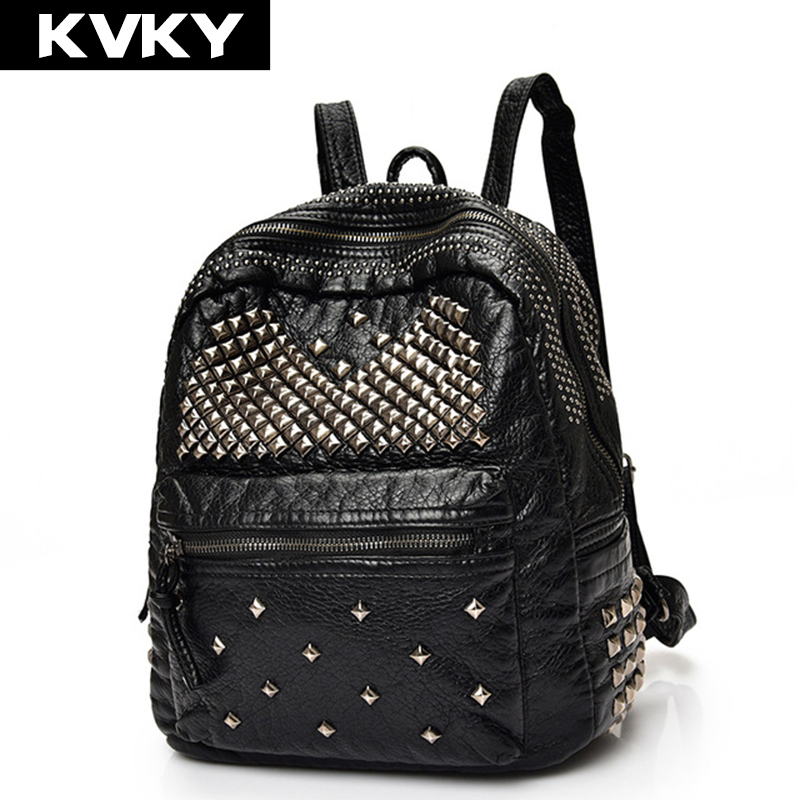 KVKY Brand Fashion Soft PU Leather Backpacks Rivet Satchel Shoulder Bags Rucksack Casual Travel School Bags for Teenagers fashion women leather backpack rucksack travel school bag shoulder bags satchel girls mochila feminina school bags for teenagers