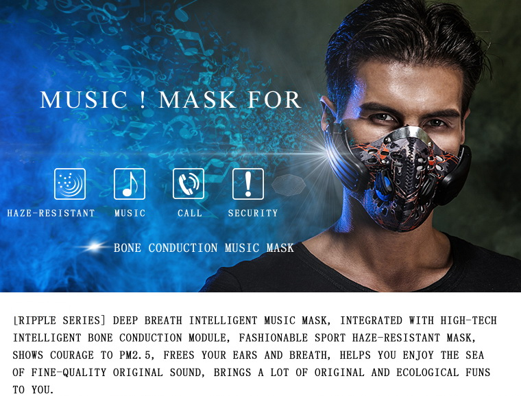 Vmota Lead-out Wireless bone conduction anti pollution mask wireless chic Intelligent bone conduction bluetooth stereo headphone image
