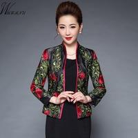 Wmwmnu Autumn Winter Fashion Embroidered Jacket Women Slim Elegant Jacket Tops High Quality OL Office Commute