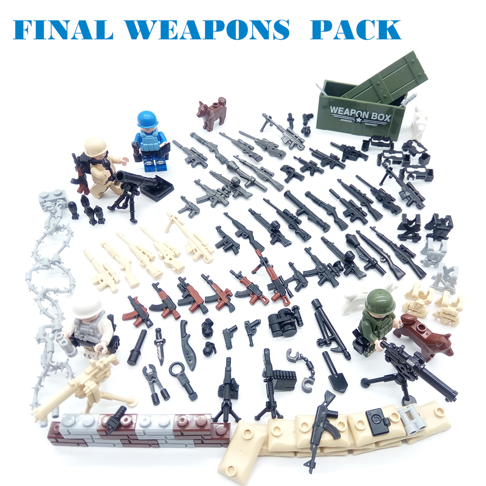 115 piezas militares escena serie Pack de armas de los soldados del ejército armas cifras SWAT WW2 modelo de construcción de bloques de ladrillo legoed para los niños juguete