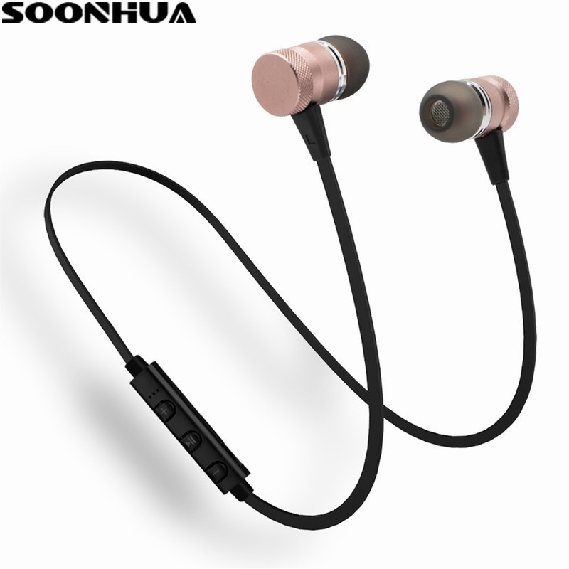 SOONHUA Wireless Magnetic Headphone Bluetooth Earphone Stereo Fone de ouvido For Phone Neckband Sweatproof Headphone With Mic