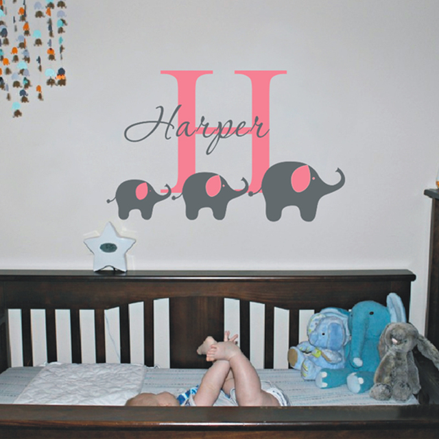 Free Shiping Diy Vinyl Removable Custom Name Elephant Wall Decal - Custom vinyl wall decals for nursery