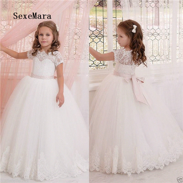 Ivory White Lace Flower Girl Dresses for Wedding with Bow Beaded Sash Kids Birthday Communion Gown Princess Christmas Dress Ivory White Lace Flower Girl Dresses for Wedding with Bow Beaded Sash Kids Birthday Communion Gown Princess Christmas Dress