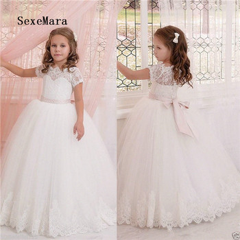 Ivory White Lace Flower Girl Dresses for Wedding with Bow Beaded Sash Kids Birthday Communion Gown Princess Christmas Dress