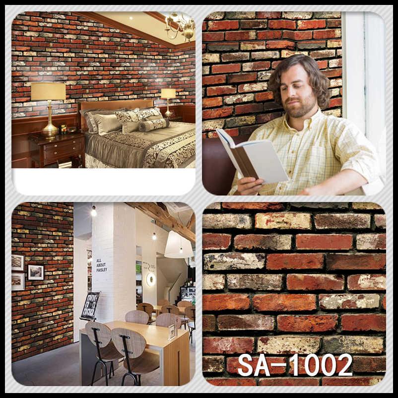 Home Decor 3D Grão De Madeira PVC Adesivos Papel de Parede papel de parede de Pedra do Tijolo Rústico Efeito Auto-adesivo Home Decor Sticker quarto