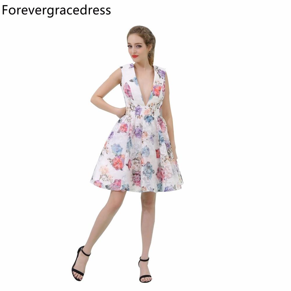 Forevergracedress Floral Print Cocktail Dress Deep V Neck Sleeveless Knee Length Short Homecoming Party Gown Plus Size Custom