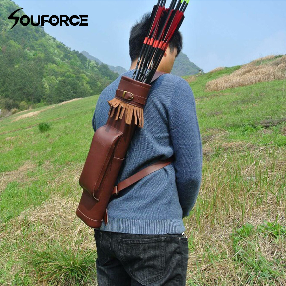 53*12cm Arrow Quiver Cow Leather Arrow Bag in Brown for Bow Archery Hunting Shooting