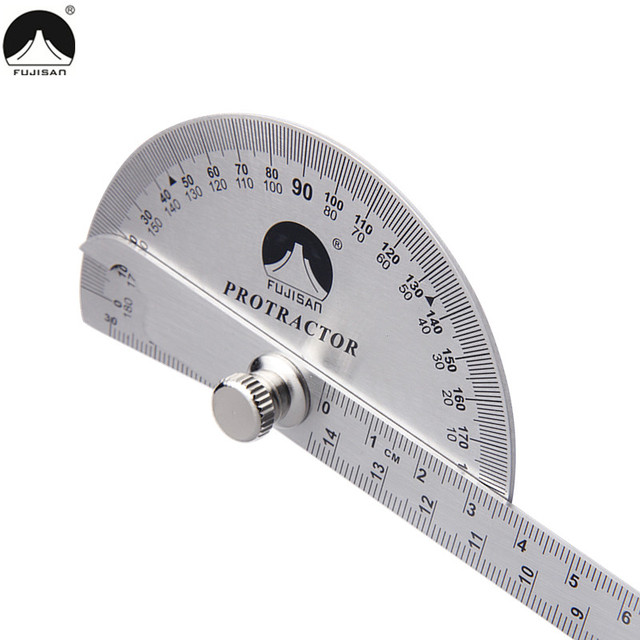 Head Rotary Protractor 145mm Adjustable Angle Finder Measure Tools  FUJISAN 0-180 Degree Angle Ruler Stainless Steel Round