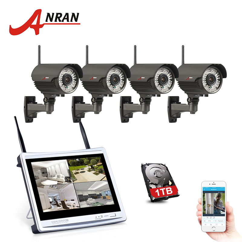 ANRAN Surveillance P2P 4CH WIFI NVR 12'LCD Monitor 2.8-12mm Lens 78 IR Outdoor 1080P IP Wireless Camera Security System Kits HDD