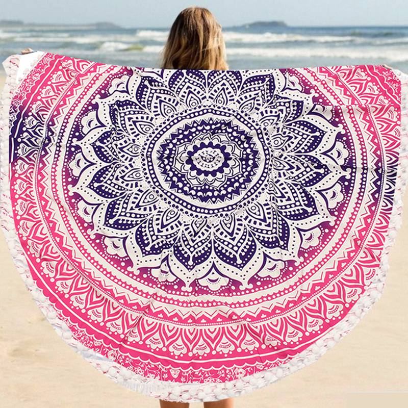 1pc polyester flower printed round beach towels with tassel large circle beach towel serviette plage swim - Large Beach Towels