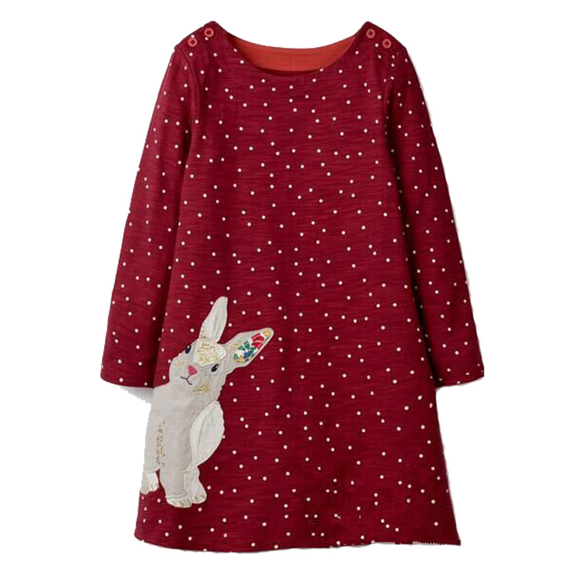 Girl Dress with Animal Applique Baby Girls Clothes Cotton Tunic Jersey Kids Dresses for Girls Costume Children Princess Dress girls dresses children clothing baby girls cartoon print cat face dress for girl cute kids cotton princess dress casual costume