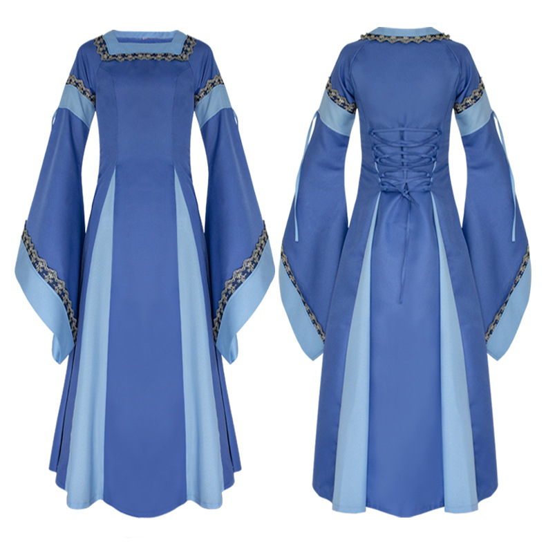 Hitmebox 2019 Newly Womens Medieval Dress Halloween Cosplay Costume Floor Length Flare Sleeve Lace-up Slim Retro Long Gown Dress