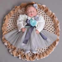 Vestido azul y gris para bebé de 1 a 2 años de edad, chaqueta, ropa de fiesta de Navidad para bebé, ropa para niña de 12 meses, Vestido para bebé pequeño RBF184014