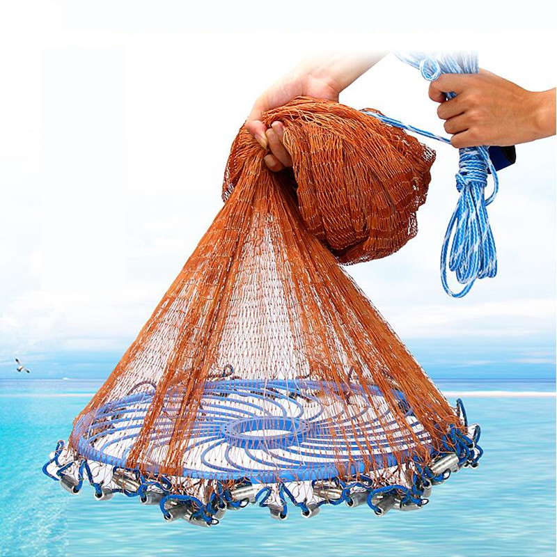 Big Flying Disc Throwing Net American Hand Cast Fishing Net with Lead Sinkers 480cm Throw Net