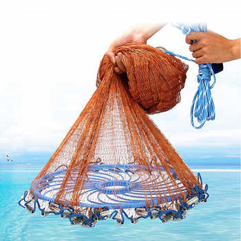 Big Flying Disc Throwing Net American Hand Cast Fishing Net with Lead Sinkers 480cm Throw Net Fishing Tools New Upgraded - DISCOUNT ITEM  30% OFF All Category