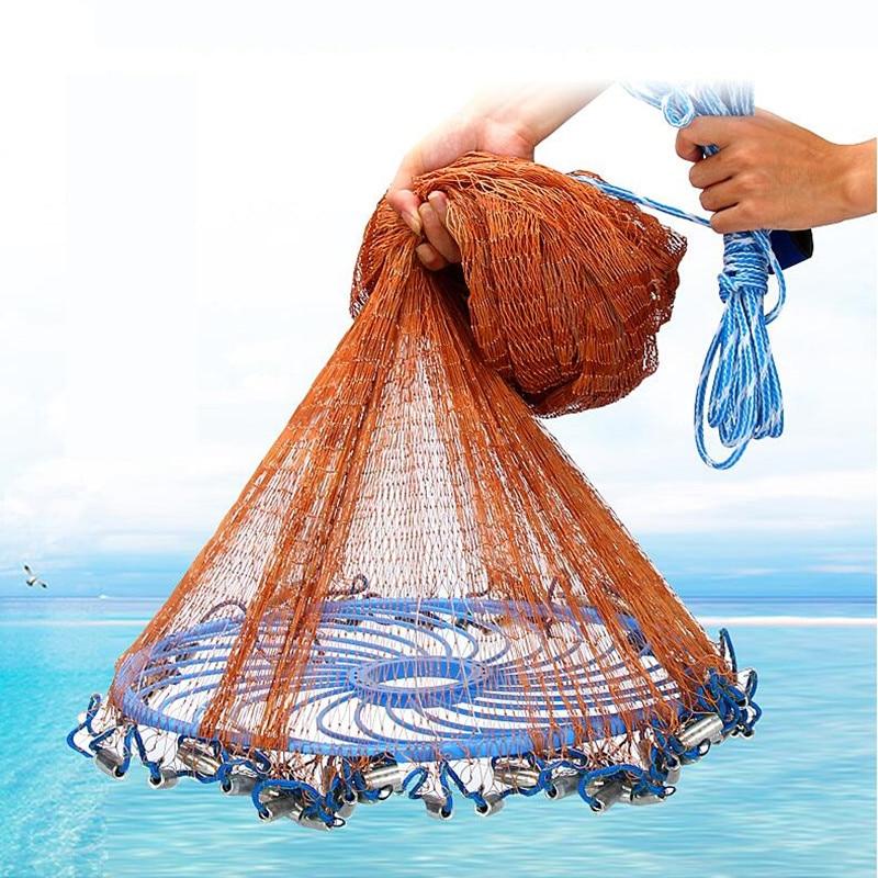 Grand disque volant jetant un filet de pêche américain moulé à la main avec des plombs de plomb 480cm jeter des outils de pêche au filet nouveau mis à niveau