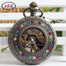 Vintage reloj de bolsillo mecánico hueco de bronce de piedra de diamante reloj lista de hombres y mujeres de semi automático reloj B095