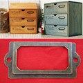 12 pcs Gaveta do Armário de Metal Titular do Cartão Quadro Rótulo Puxar Lidar Com Nome Do Arquivo + Parafusos Para Móveis Gaveta Do Armário Caixa Bin