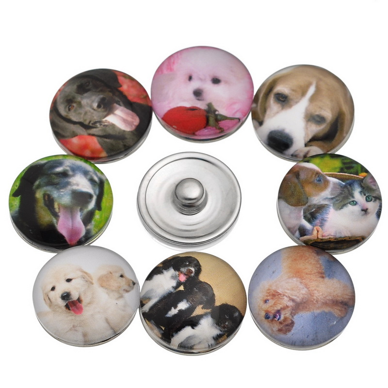 10Pcs Mixed Dogs Chien Patterns Glass Round Click Snap Press Buttons Fashion Crafts Making 18mm image