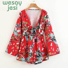 2019 Red Floral Rompers Japanese Style Kimono Jumpsuits Long Sleeve Sexy  Playsuits summer Printing V Neck Coveralls