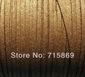 Free Shipping 100Yards (92 Meters) 3 mm x 1.5mm Metallic Gold Flat Faux Suede Leather Cord
