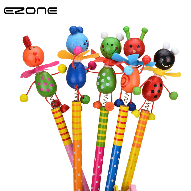 EZONE Wooden Animals Pencil Kawaii Students Pencil With Shakable Head Children Cute Study Cartoon Personality Kids Pencil Gifts