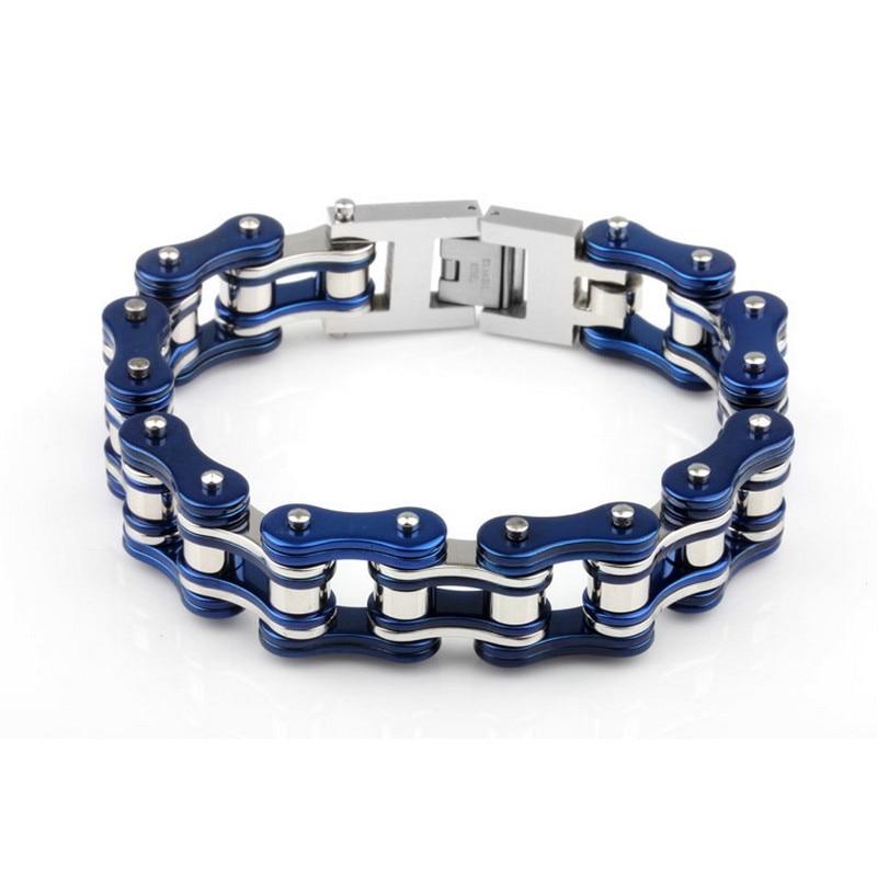 316L stainless steel charm Mens motorcycle chain bracelet YM097 blue silver Trendy biker chain bracelets For Men Gift YM097316L stainless steel charm Mens motorcycle chain bracelet YM097 blue silver Trendy biker chain bracelets For Men Gift YM097