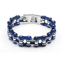 316L stainless steel charm Mens motorcycle chain bracelet YM097 blue silver Trendy biker chain bracelets For Men Gift YM097