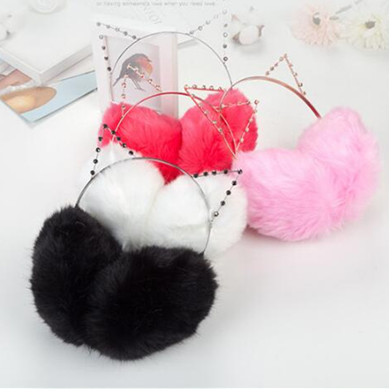Plush Fur Cute Cat Earmuffs For Women Winter Warm Girl Solid Ear Covered 2 In 1 Cats Hairbands Rhinestone Ear Muffs