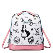 Women 2016 New Preppy Style Cute Cartoon Fashion Leather Backpack Casual Daypack Rucksack Convertible Shoulder Bag