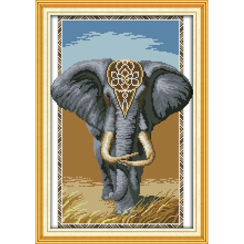 Everlasting love Elephant king Chinese cross stitch kits Ecological cotton stamped 11 14CT DIY gift wedding decoration for home