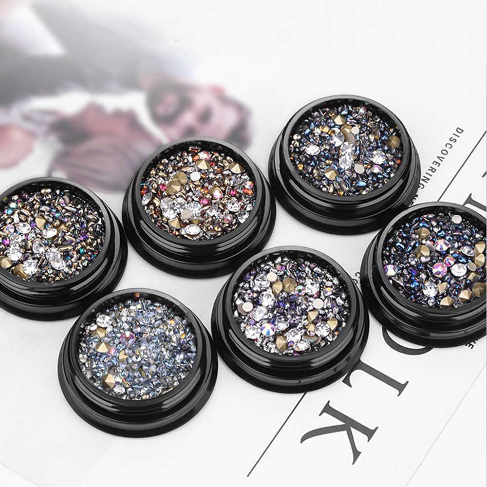 Горячая продажа 1 коробка 3D Стразы различные DIY драгоценные камни новые очаровательные Микс Дизайн ногтей Роза для украшения ювелирных изделий гель блеск украшения для ногтей