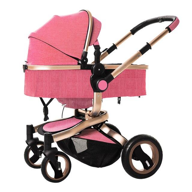 de0ecfa7a Carrinho de bebê Europeu alta paisagem carrinho de bebê de luxo 3D estéreo  amortecimento swivel dual