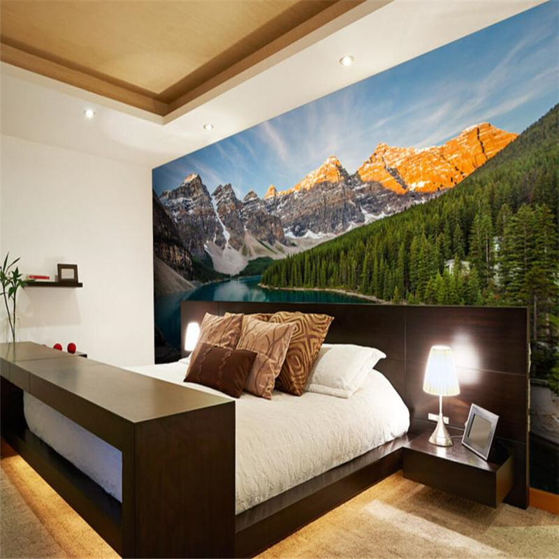 landscape tranquil beibehang creek bedroom living 3d background custom wall tv