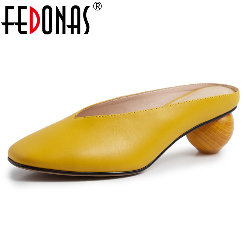 FEDONAS Fashion Sexy Slingbacks High Heels Pumps Close Toe Spring Summer Mules Shoes Woman Genuine Leather