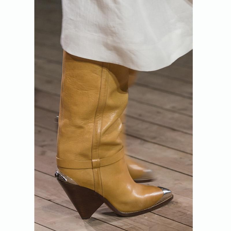 Muslo Punta Mujeres Blanco White Slouch Botas Mujer Pasarela Pista De Alta yellow Rodilla Del Marca Por Zapatos Diseño Amarillo Moda Encima La 5aaSZ6wHq