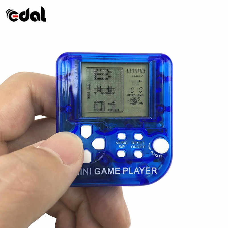 Mini Classical Game Tetris Electronic Cyber Machine Education Toys For Kids Game Keychain Gifts color random