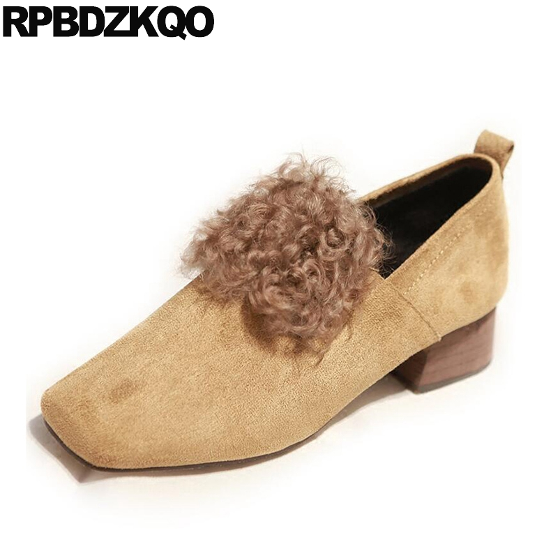 Suede Strange Square Toe Special Women Yellow Fur Ladies Mid Heels Shoes Medium Chunky Low Chinese Fashion New Winter China square toe medium pumps genuine leather suede black plus size fur party shoes for women elegant high heels chunky autumn chinese