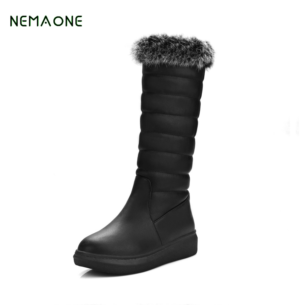 NEMAONE 2017 NEW fashion thigh black snow boots fox fur over the knee long winter snow boots for women high winter shoes