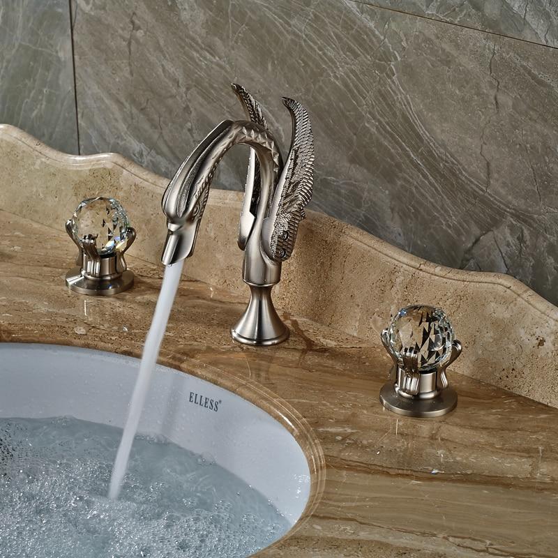 Brushed Nickel Swan Basin Sink Faucet Widespread Bathroom Mixer Crane Taps Deck Mounted