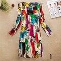 Уменьшают подходящую цветочный шелковистый женщины платья с длинным рукавом осень весна женский платье Большой размер 36 цвета vestidos longos халат