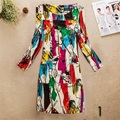 Slim Fit Floral Silky Women Dresses Long Sleeve Autumn Spring Winter Female Dress Plus Size 36 colors  vestidos longos robe
